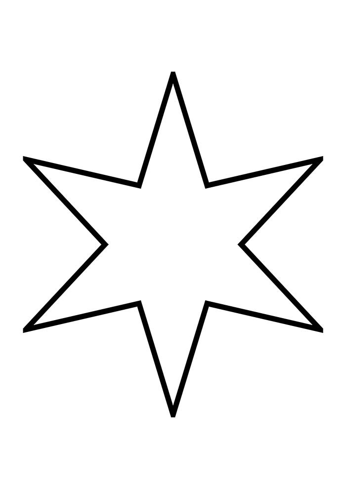christmas coloring page six points star