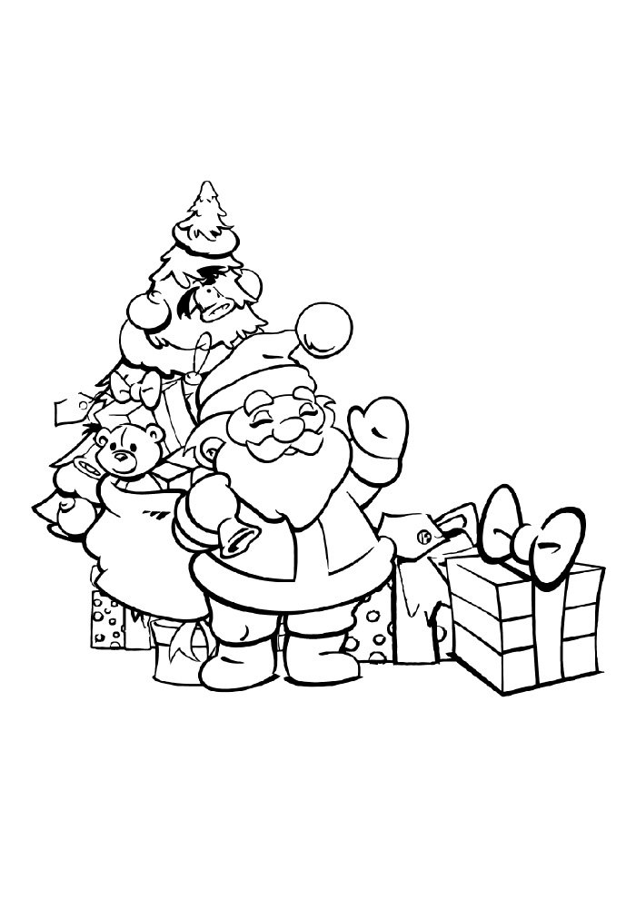 christmas coloring page tree, santa and gifts