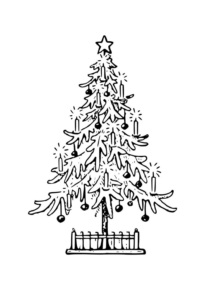christmas coloring page tree with ornaments