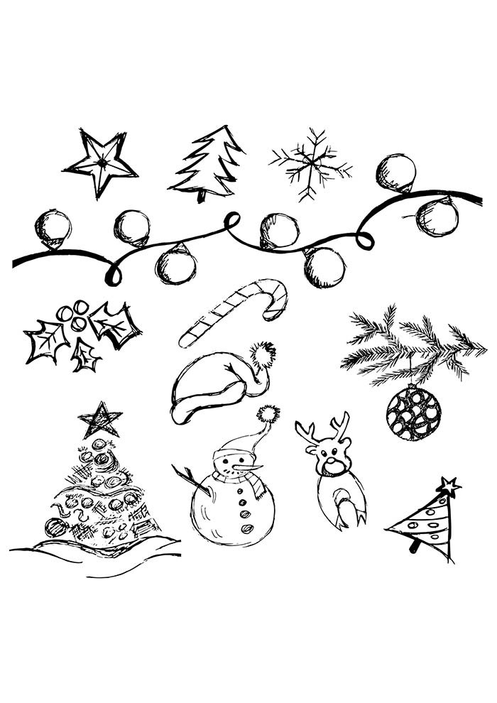 christmas coloring page trees stras balls snowman