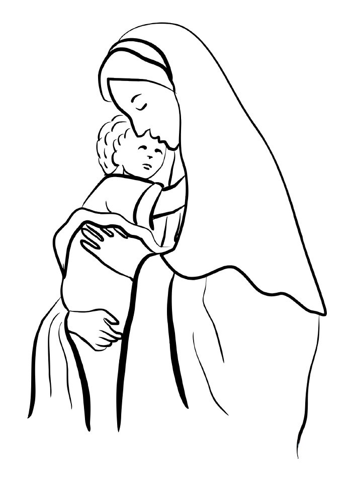christmas coloring page virgin mary
