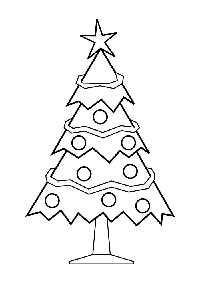 christmas tree coloring page star and ornaments