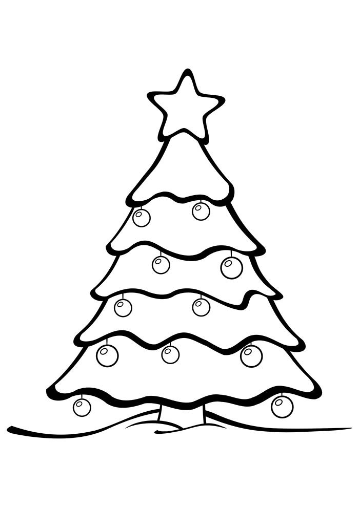 christmas tree coloring page with big star on top