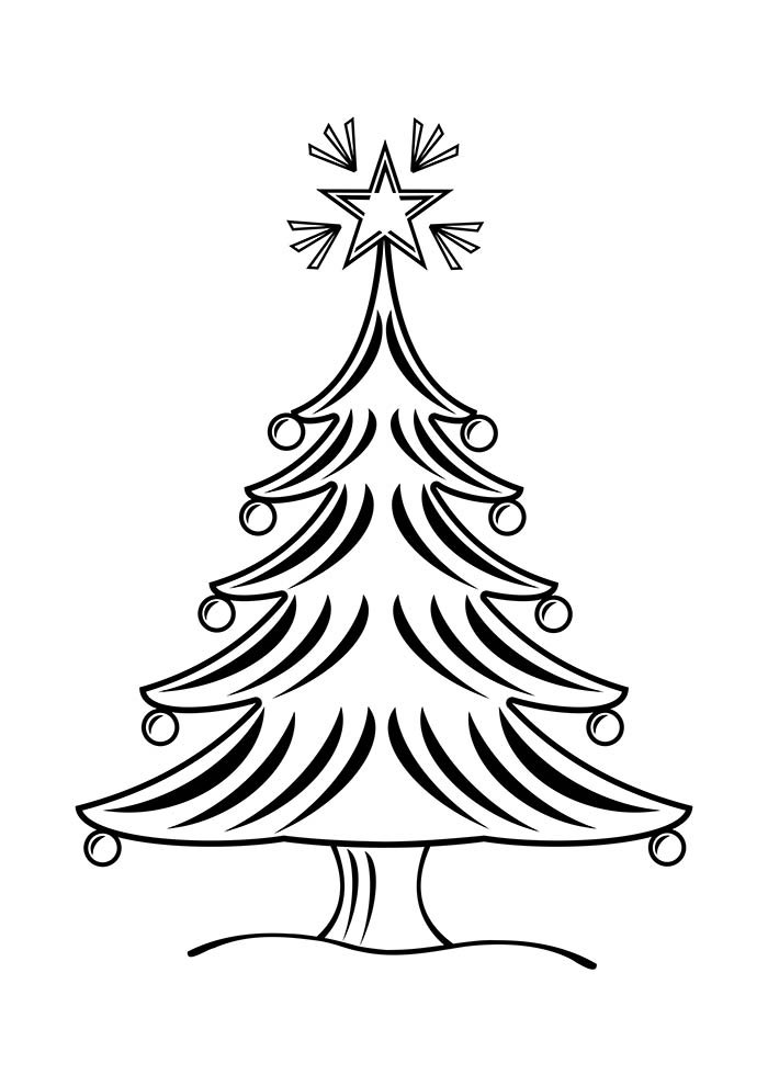 christmas tree coloring page with ornaments