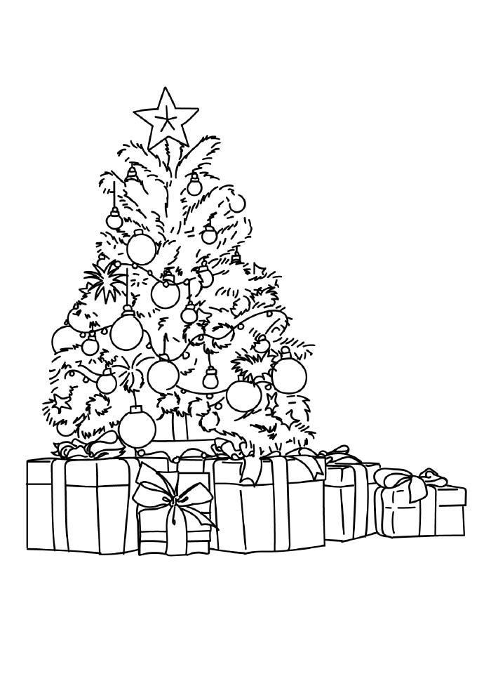 christmas tree coloring page with presents