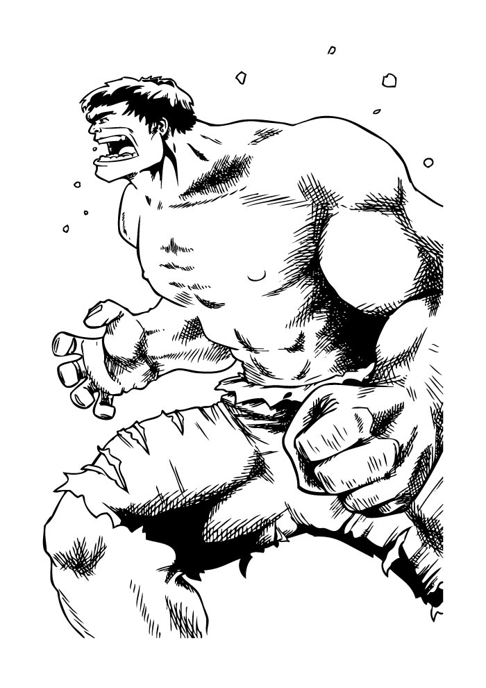 classic hulk coloring page