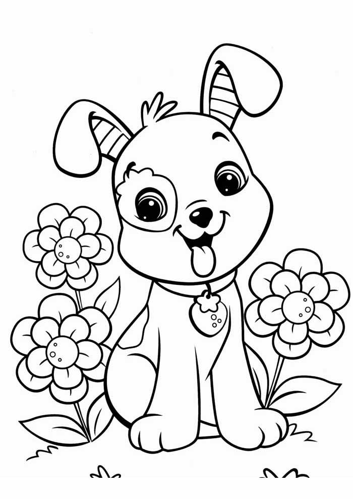 cute dog coloring page with flowers
