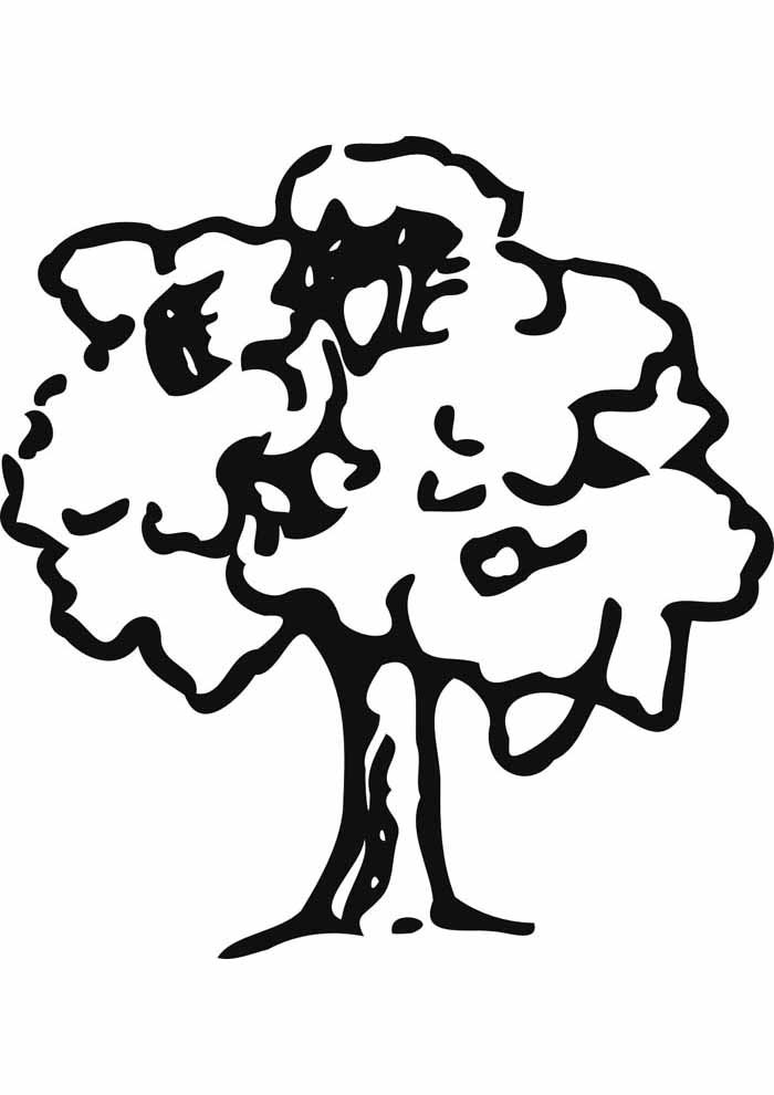 cute tree coloring page