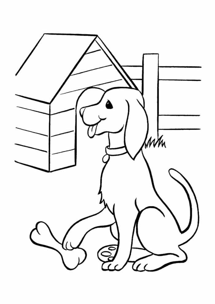 dog coloring page bone and house