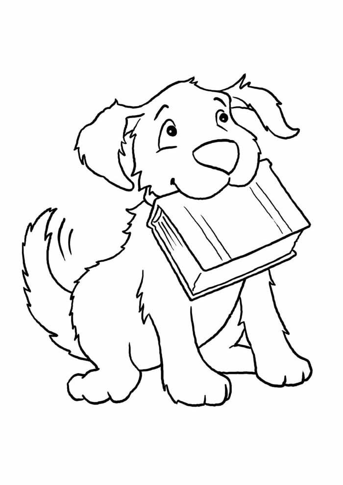 dog coloring page booking in the mouth