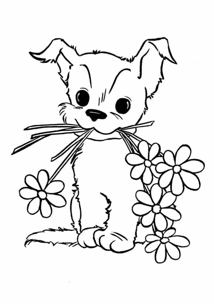 dog coloring page carrying flowers in the mouth