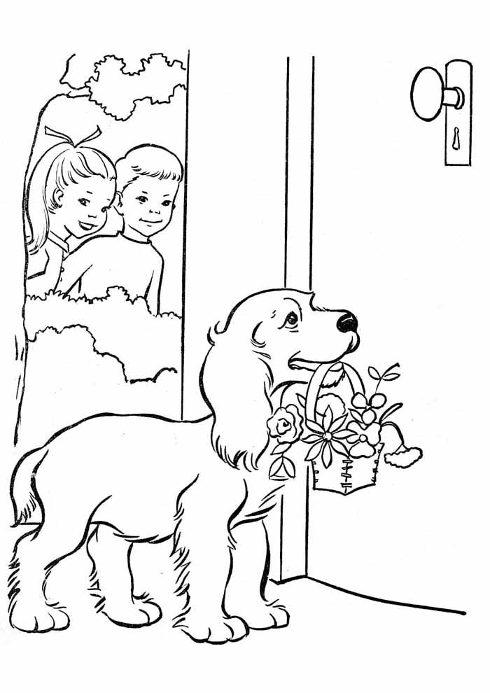 dog coloring page carrying flowers