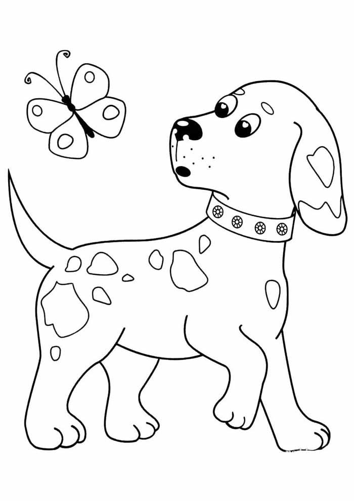 dog coloring page chasing butterfly