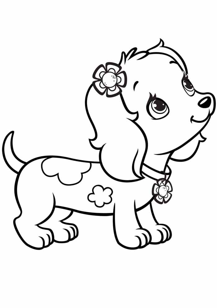 dog coloring page cute puppy