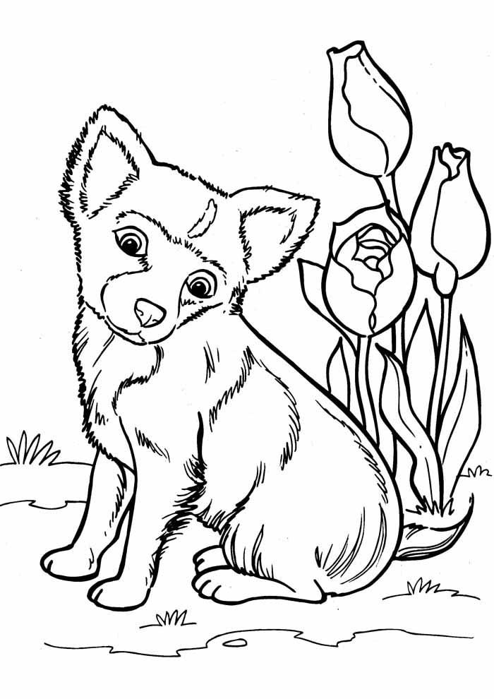 dog coloring page cute with flowers
