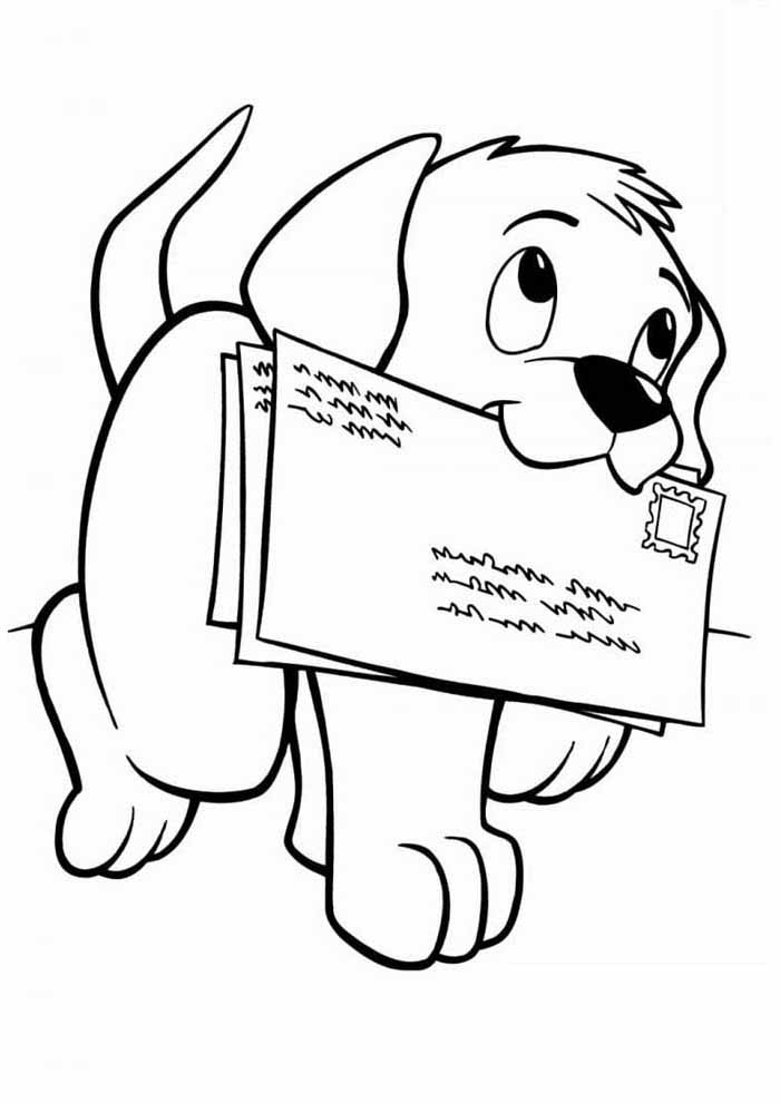 dog coloring page delivering letters