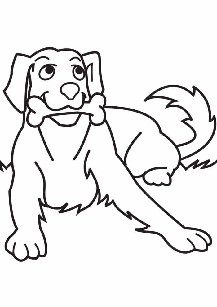 dog coloring page eating bone