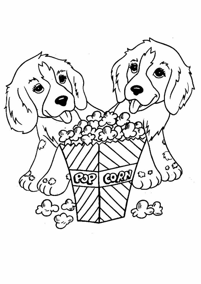 dog coloring page eating pop corn