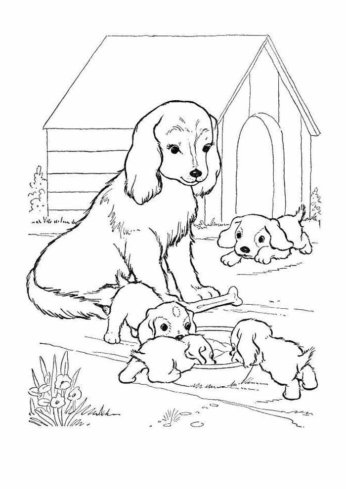 dog coloring page family
