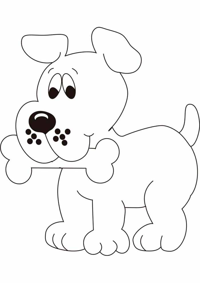 dog coloring page holding bone