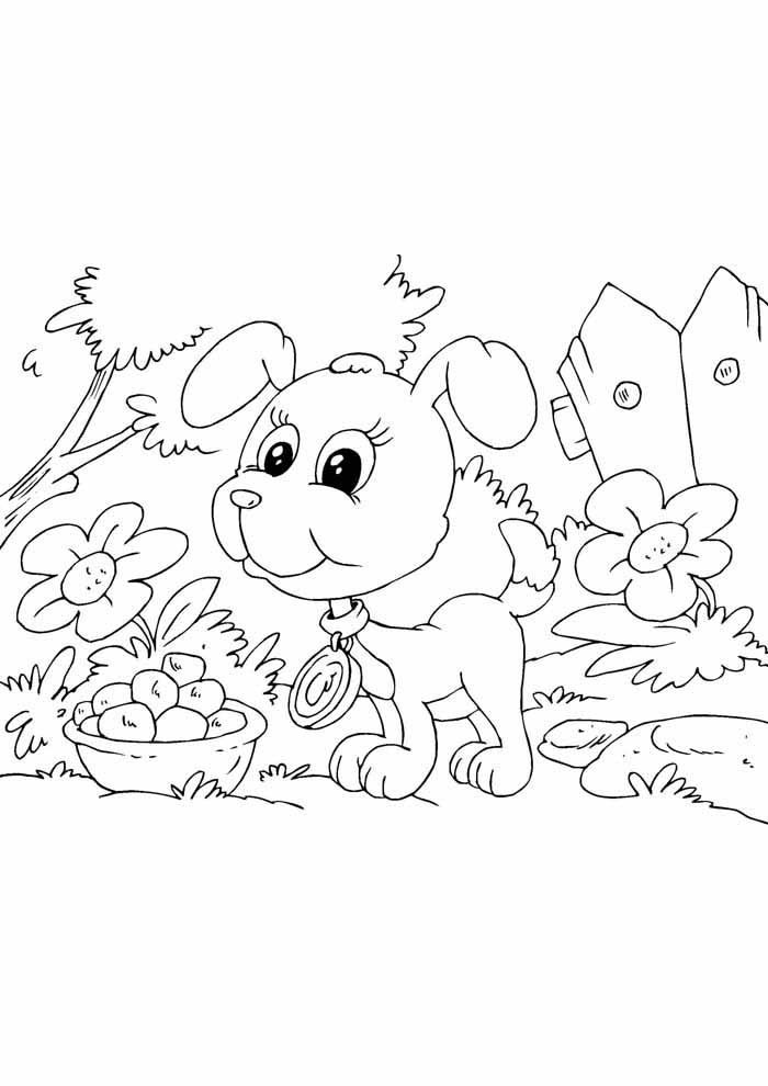 dog coloring page in the forest