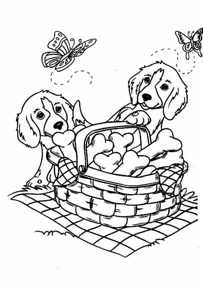 dog coloring page picnic