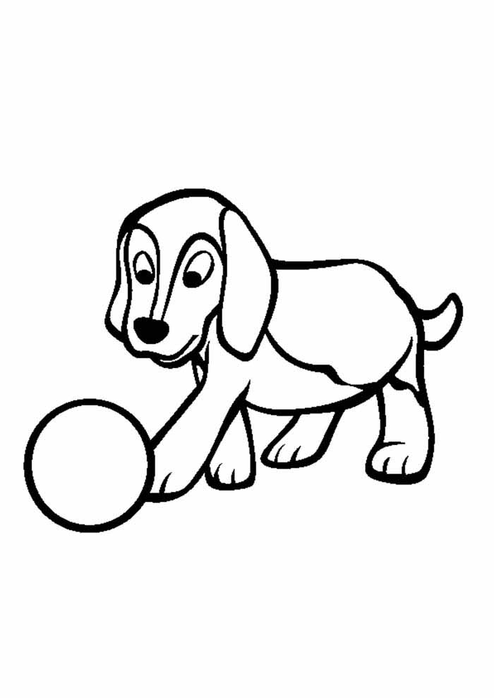 dog coloring page playing ball