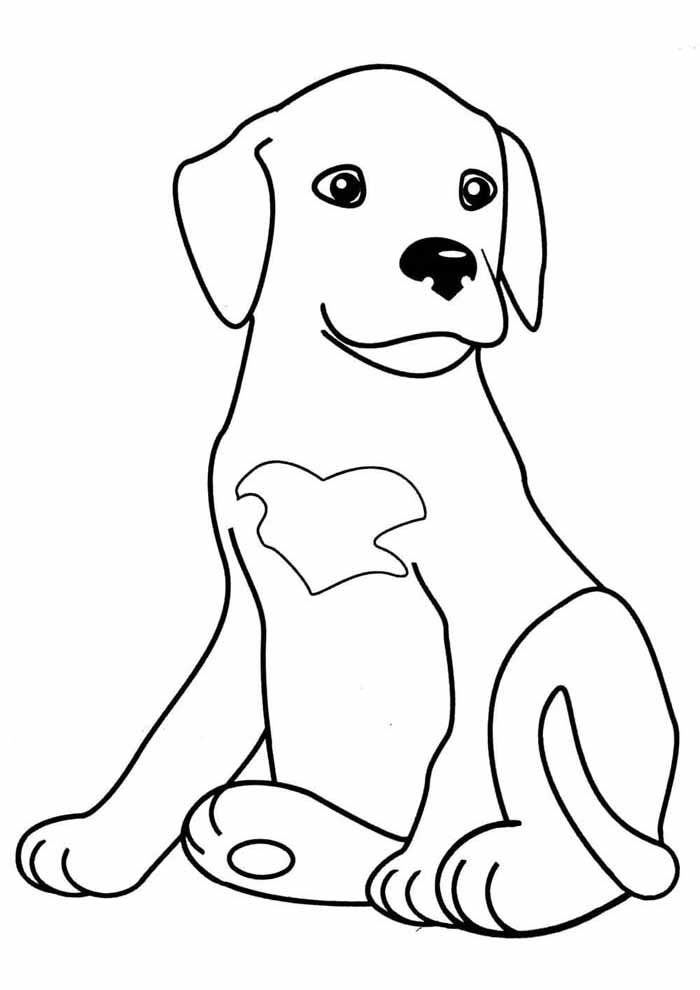 dog coloring page seated