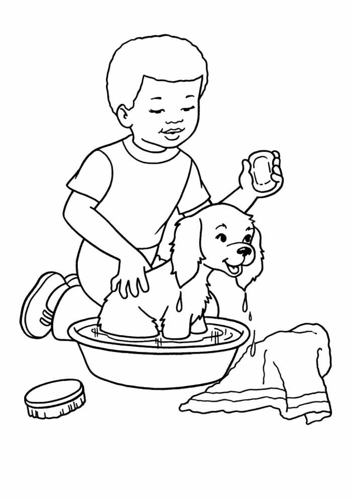 dog coloring page showering