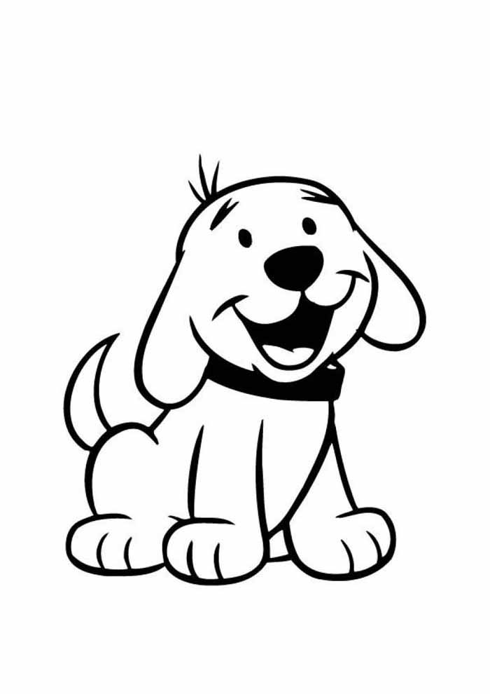 dog coloring page smilling