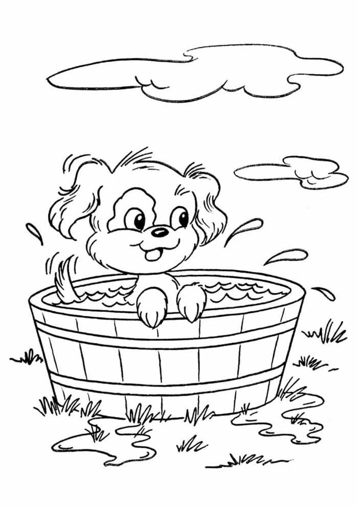 dog coloring page taking shower