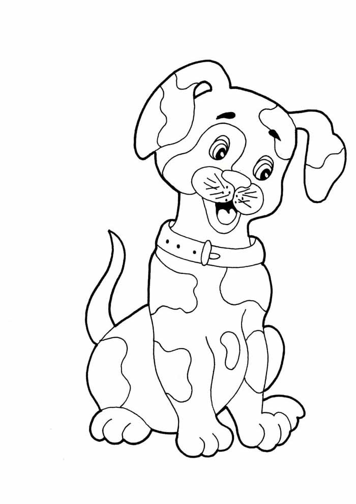 dog coloring page thinking