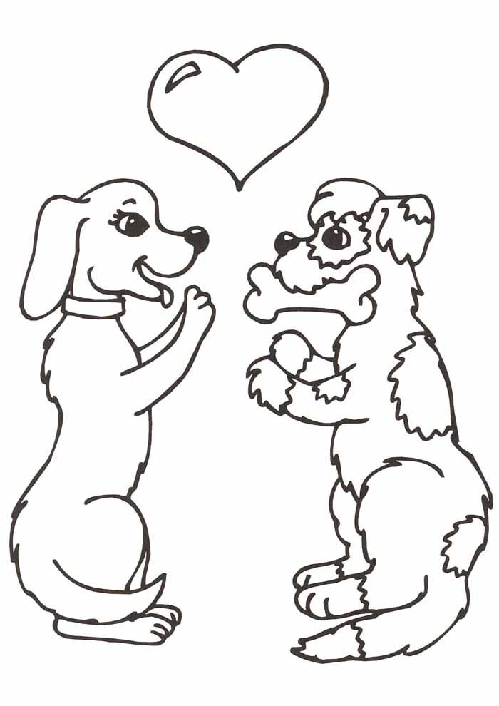 dog coloring page valentines day