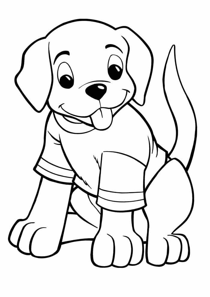 dog coloring page wearing t shirt