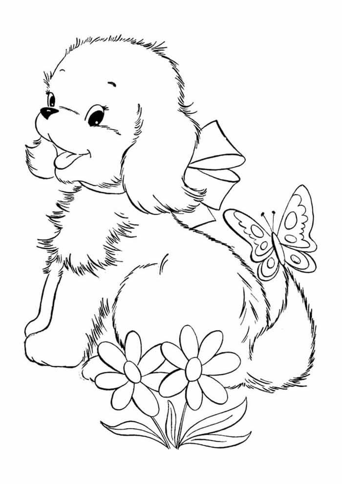 dog coloring page with butterfly and flowers