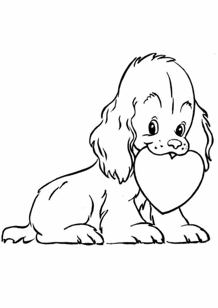 dog coloring page with heart in the mouth