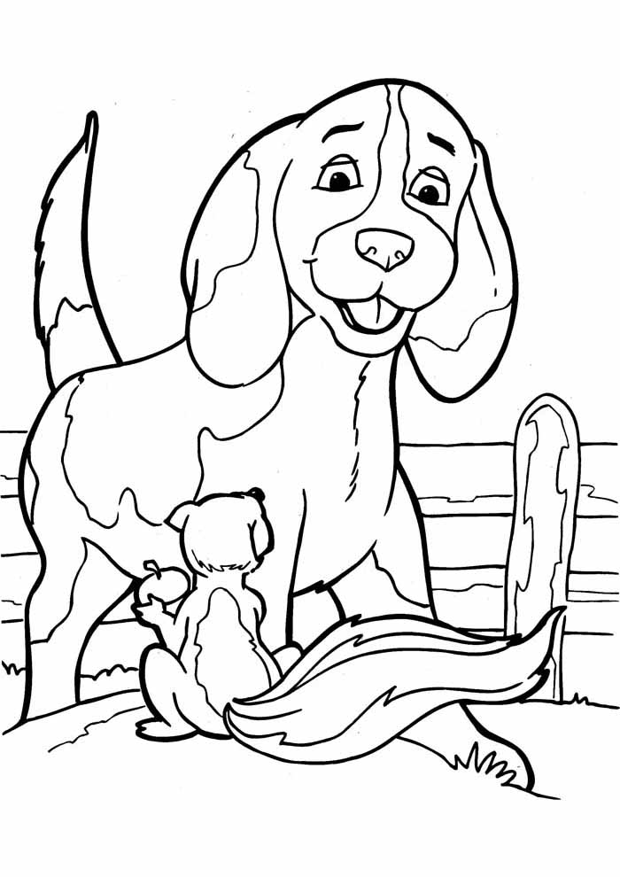 dog coloring page with squirrel