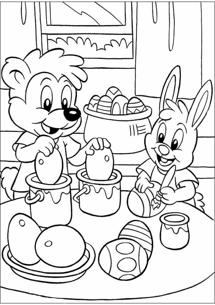easter coloring page bunnies making eggs