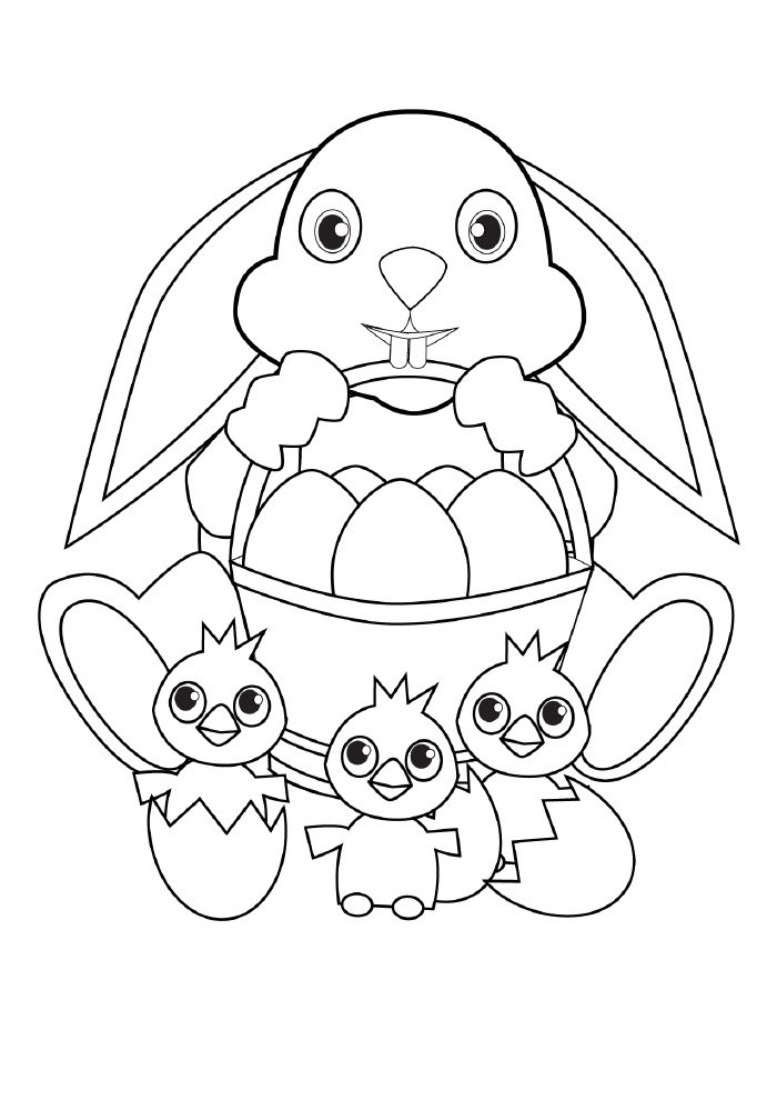 easter coloring page bunny egg basket