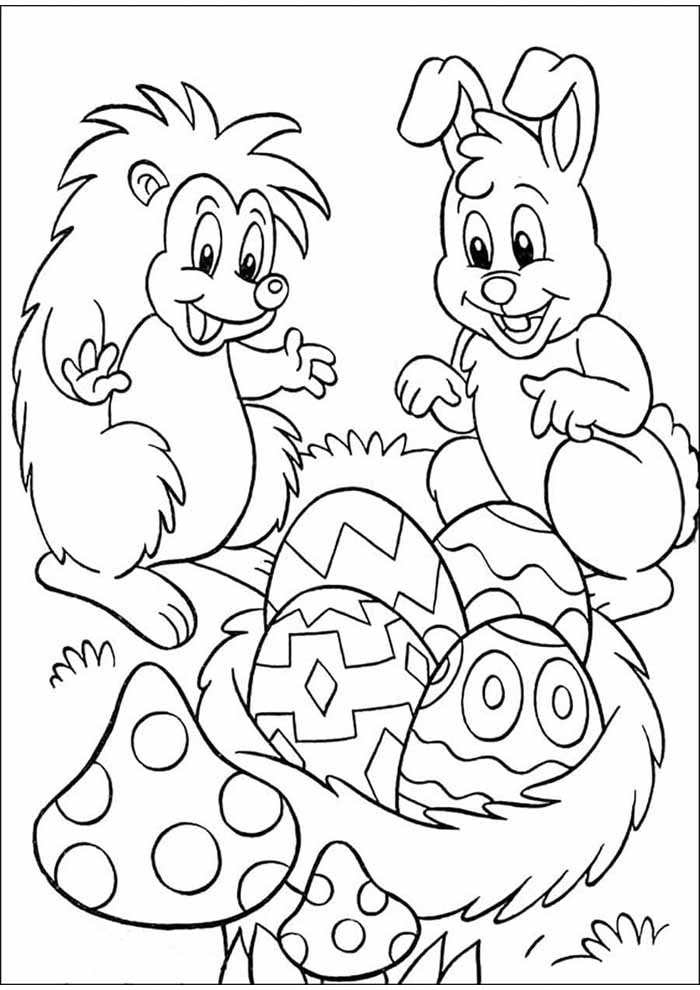 easter coloring page eggs and bunny