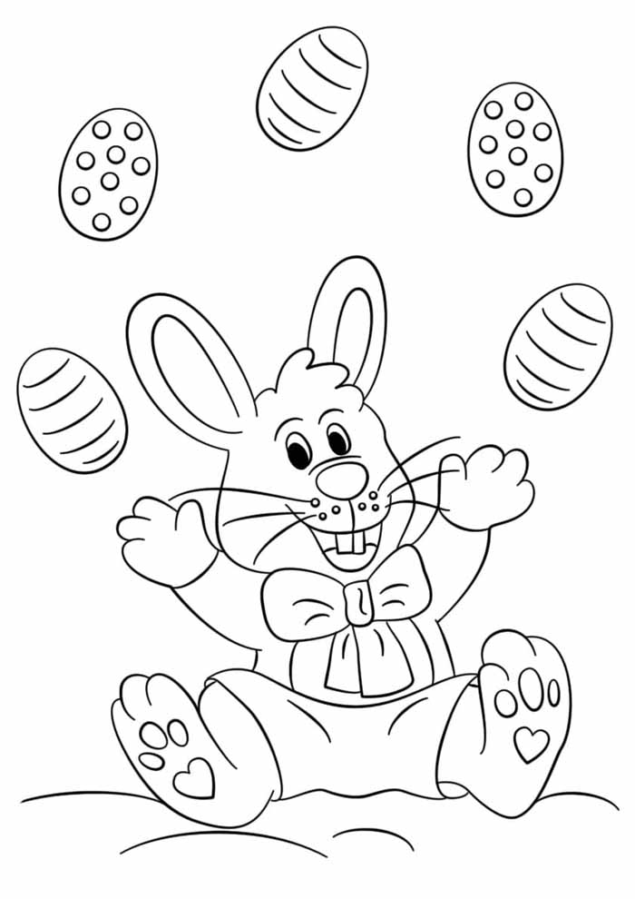 easter coloring page happy bunny