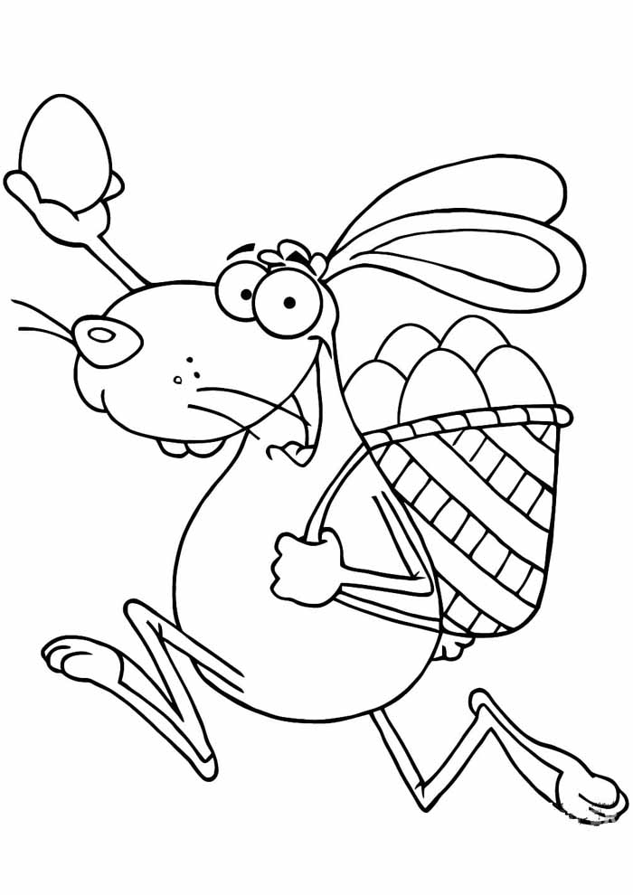 easter coloring pages bunny running with eggs