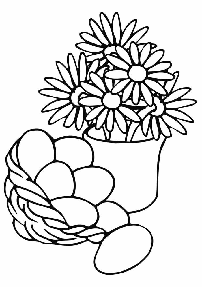 easter egg basket and flowers coloring page