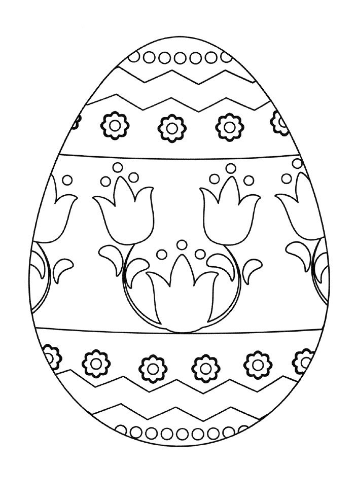 easter egg coloring page with flowers