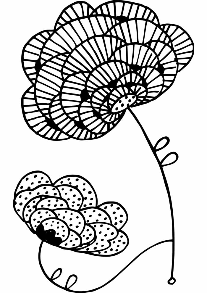 flower coloring page cute