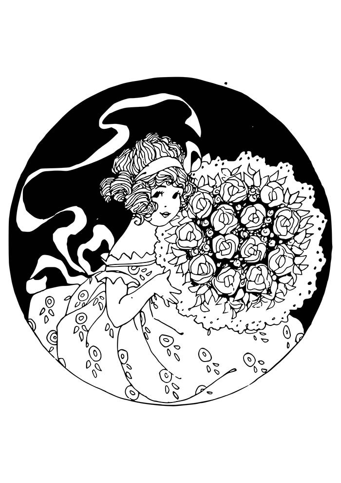 flower coloring page girl with bouquet