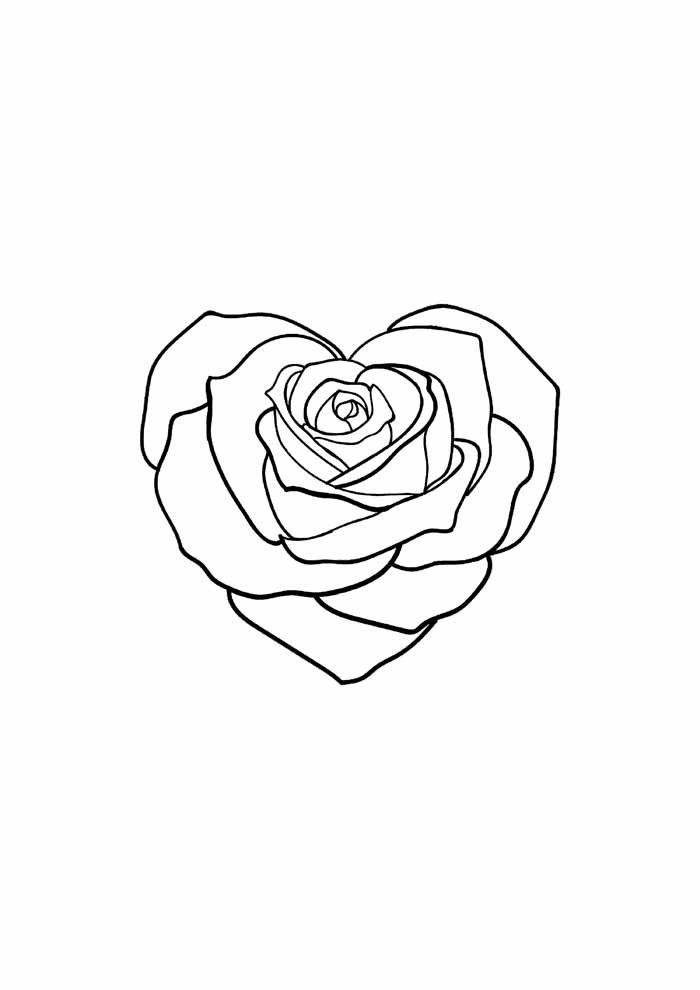 flower coloring page heart