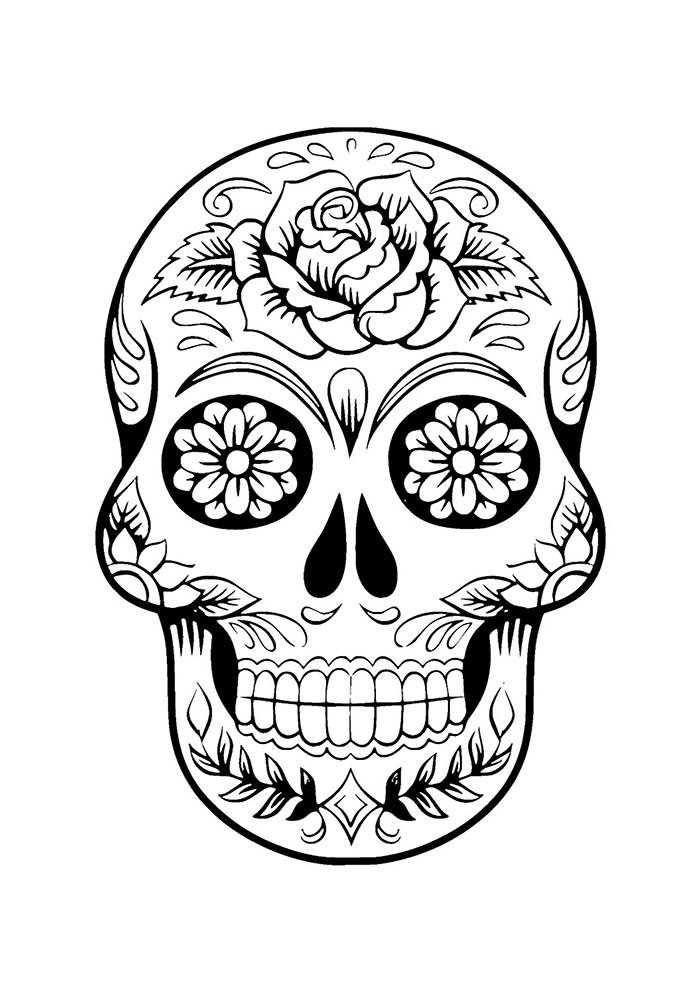 flower coloring page skull