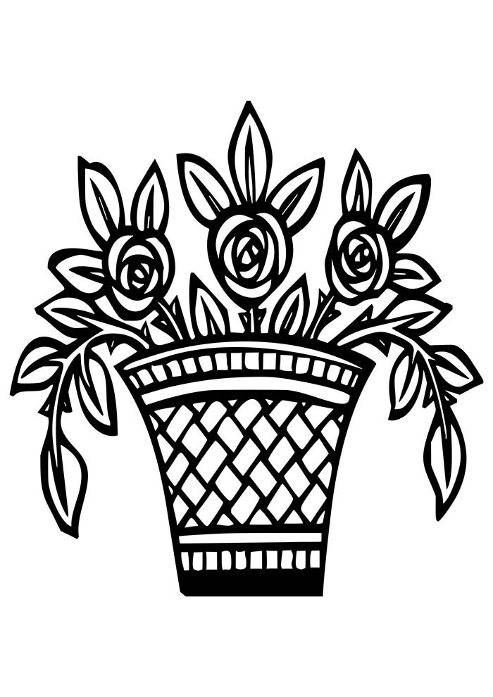 flower coloring page vase