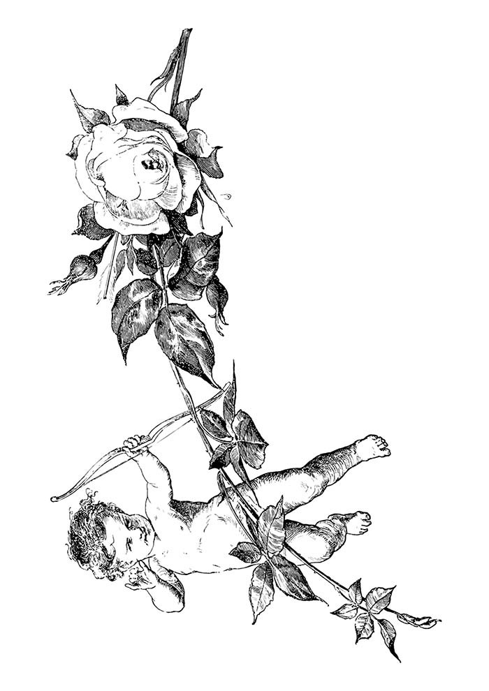 flower coloring pages and cupid
